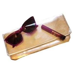 Handbags - Silver Faux Leather Clutch NWOT